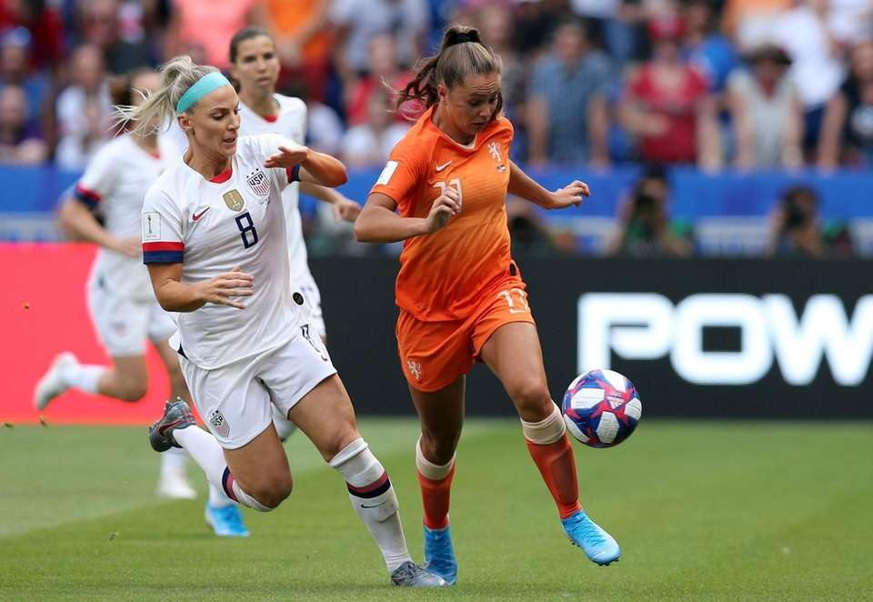 United States' Julie Ertz vies for the ball