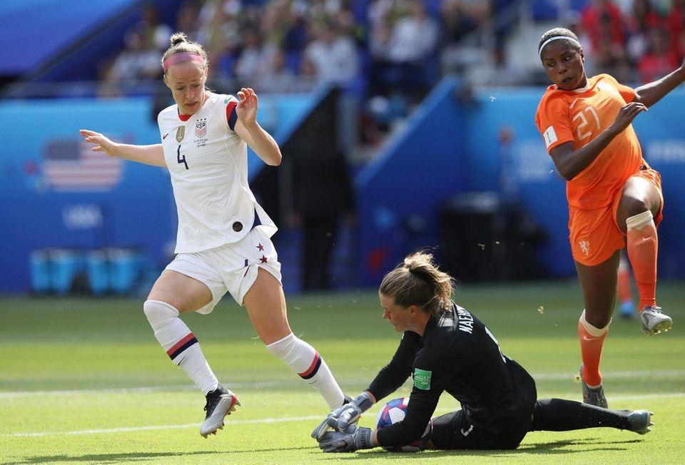 United States goalkeeper Alyssa Naeher makes a save