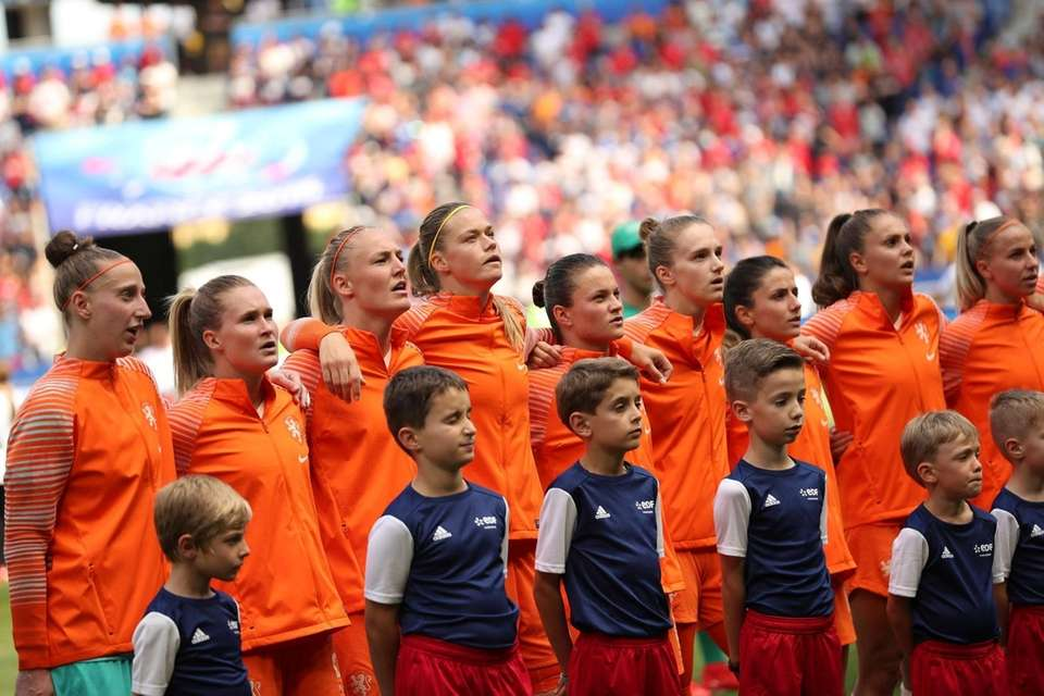 The Netherlands players lineup before the Women's World