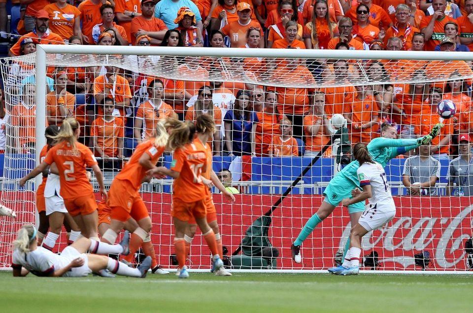 Netherlands goalkeeper Sari Van Veenendaal makes a save