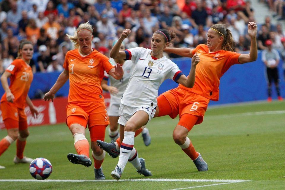 United States' Alex Morgan kicks the ball during