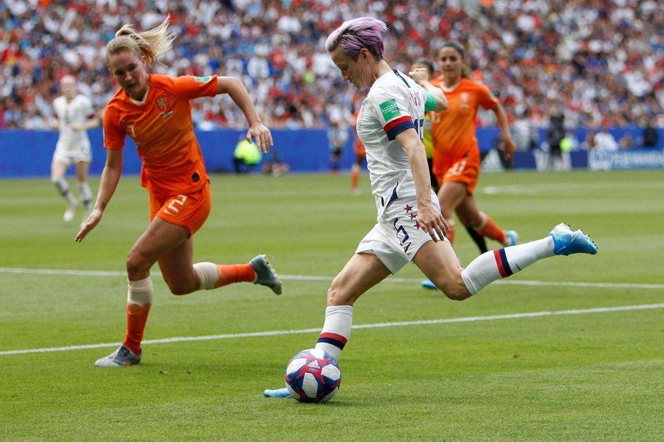 United States' Megan Rapinoe kicks the ball during