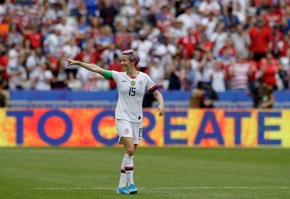United States' Megan Rapinoe celebrates after scoring her