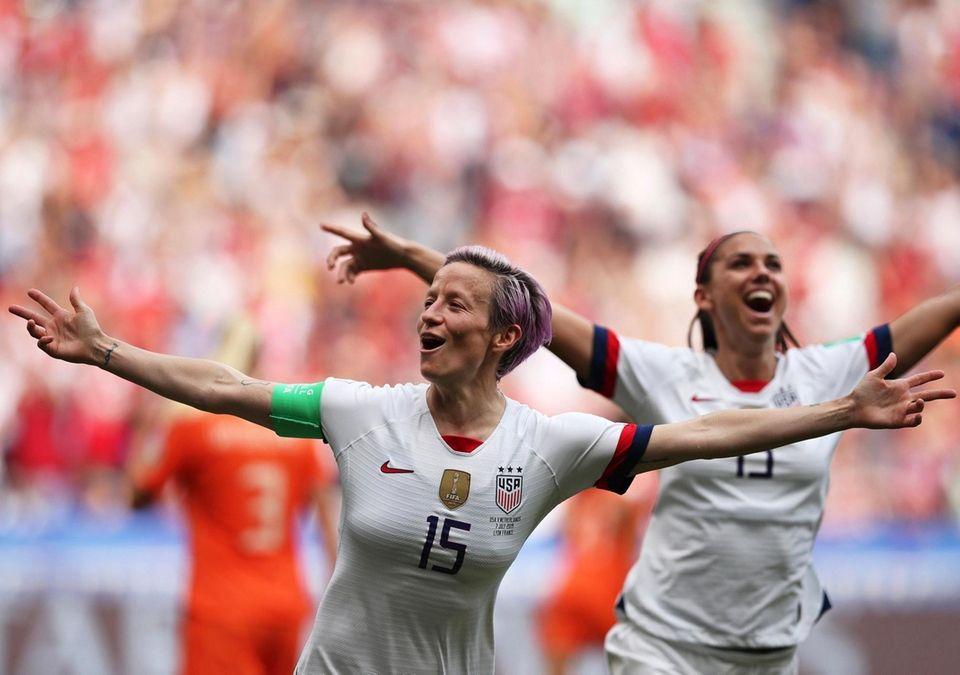 The United States' Megan Rapinoe celebrates after scoring