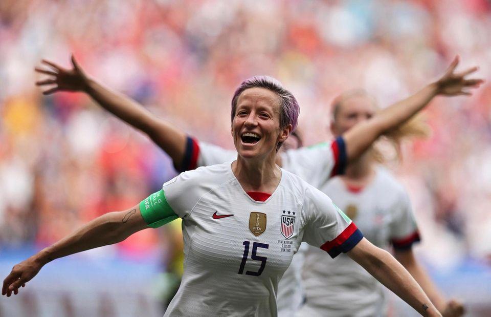 United States' Megan Rapinoe celebrates after scoring the