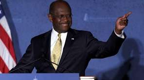 Republican presidential candidate Herman Cain speaks at Hillsdale