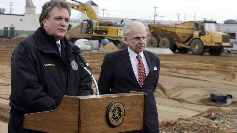 Nassau County Executive Edward Mangano, left, and developer