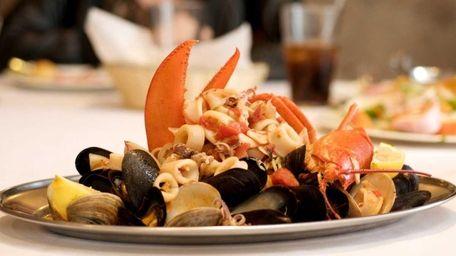 A mixed seafood platter of clams, mussels, calamari