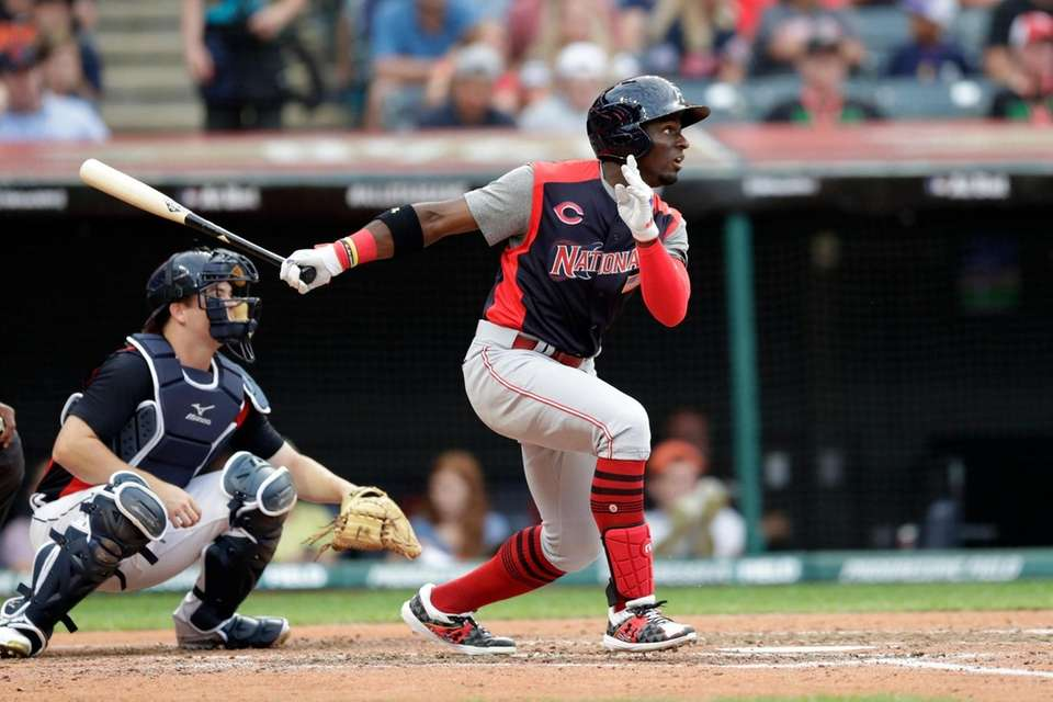 Taylor Trammell, of Cincinnati Reds, hits an RBI