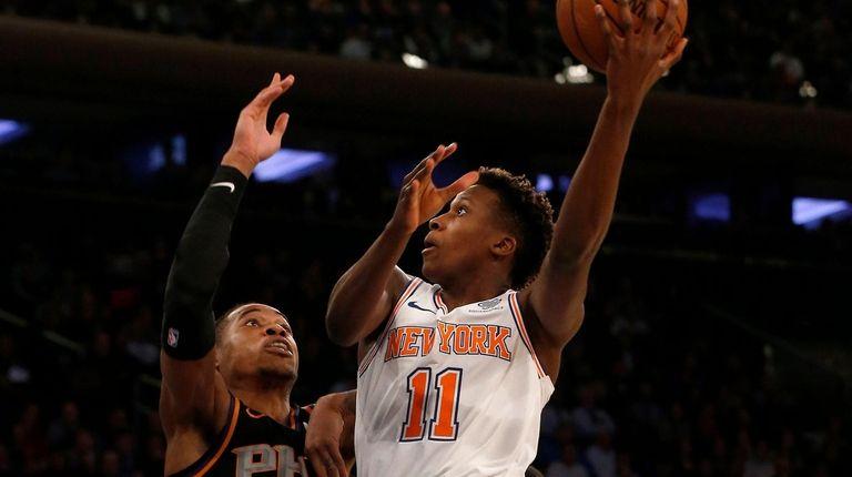 Frank Ntilikina of the New York Knicks goes