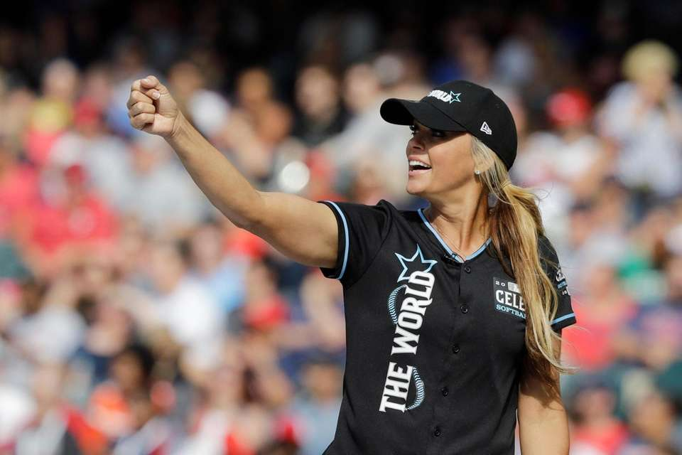 Jennie Finch reacts during the MLB All-Star Legends