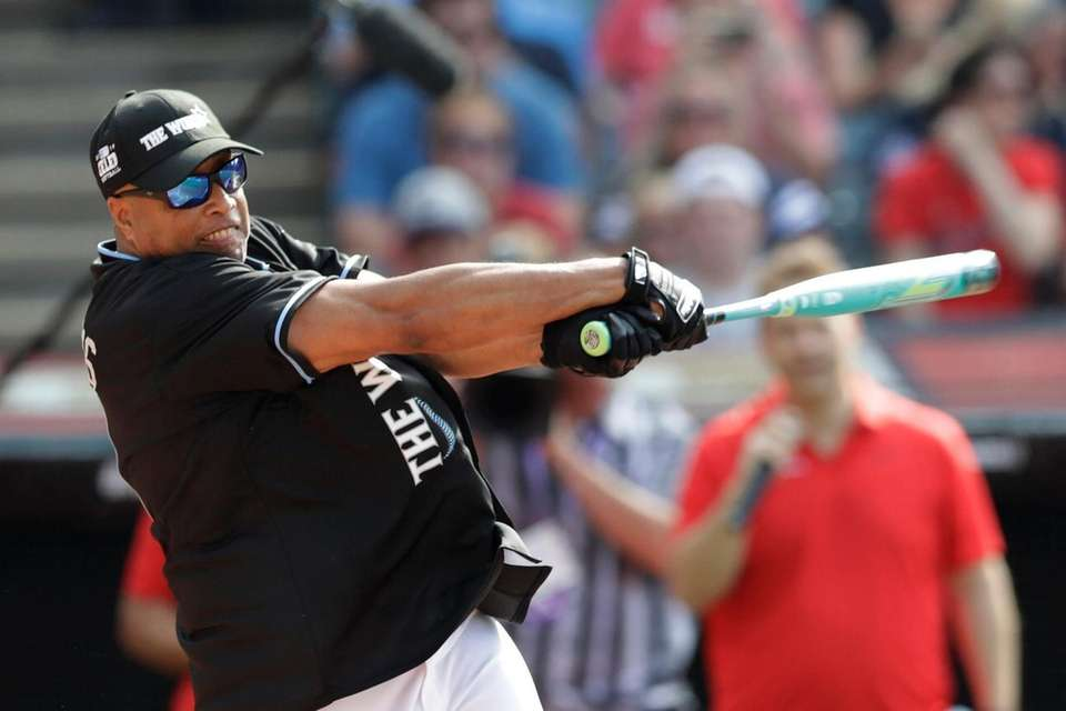 Bernie Williams hits during the MLB All-Star Legends