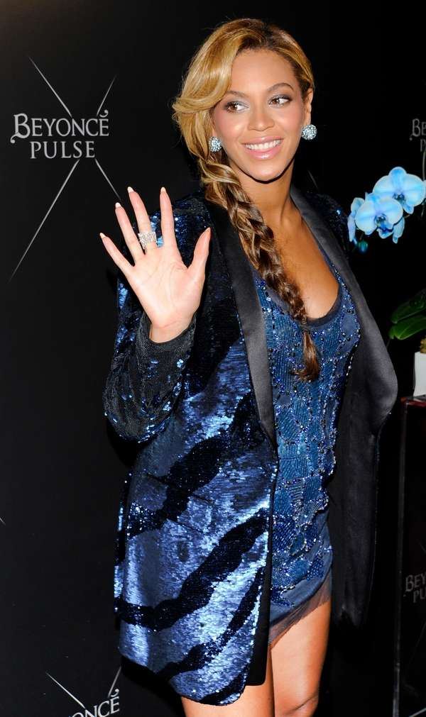 Beyonce wears a blue sequin, bedazzled Roberto Cavalli