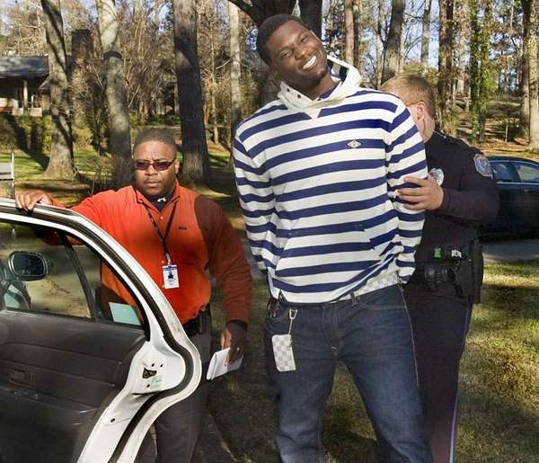 Oakland Raiders football player Rolando McClain smiles for