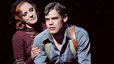 "Laura Osnes, left, and Jeremy Jordan in ""Bonnie"
