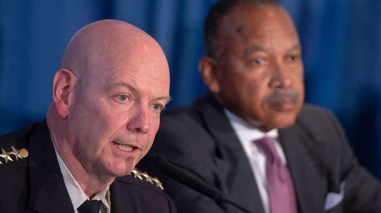 NYPD Chief of Department Terence Monahan, left, with
