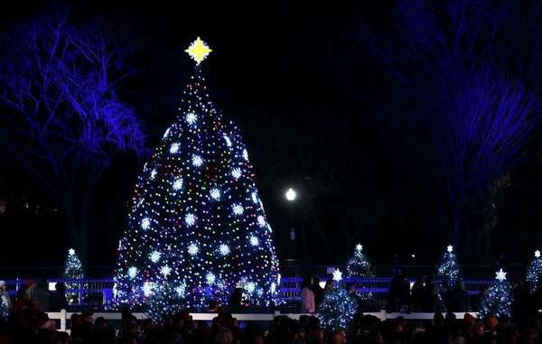 People gather around the National Christmas Tree after
