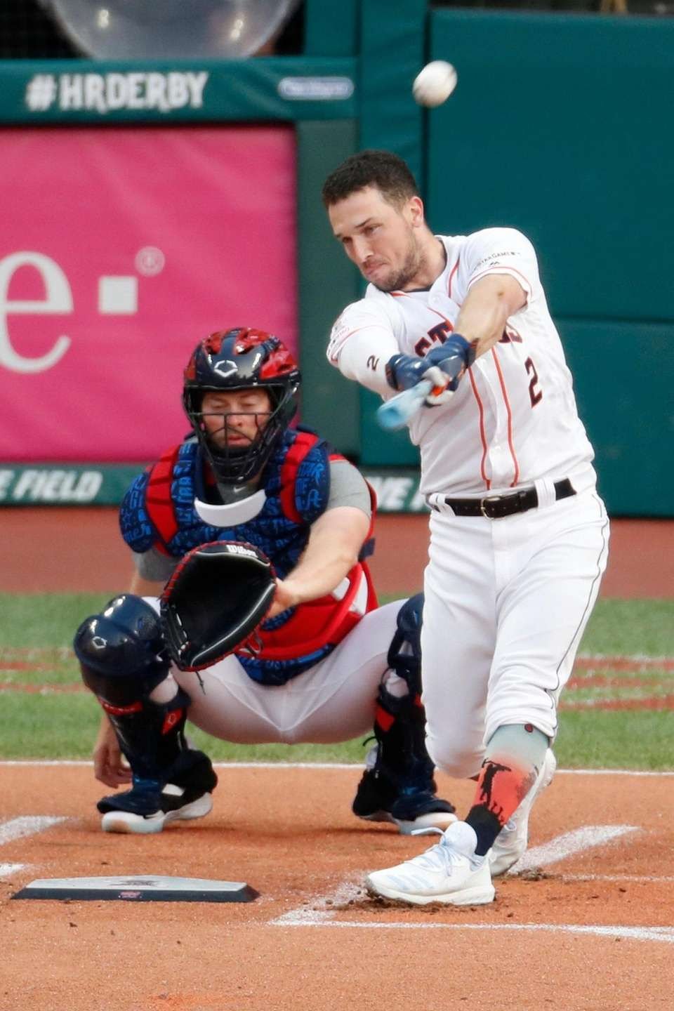 Alex Bregman, of the Houston Astros, hits during