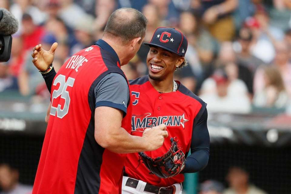 Francisco Lindor, of the Cleveland Indians, right, talks