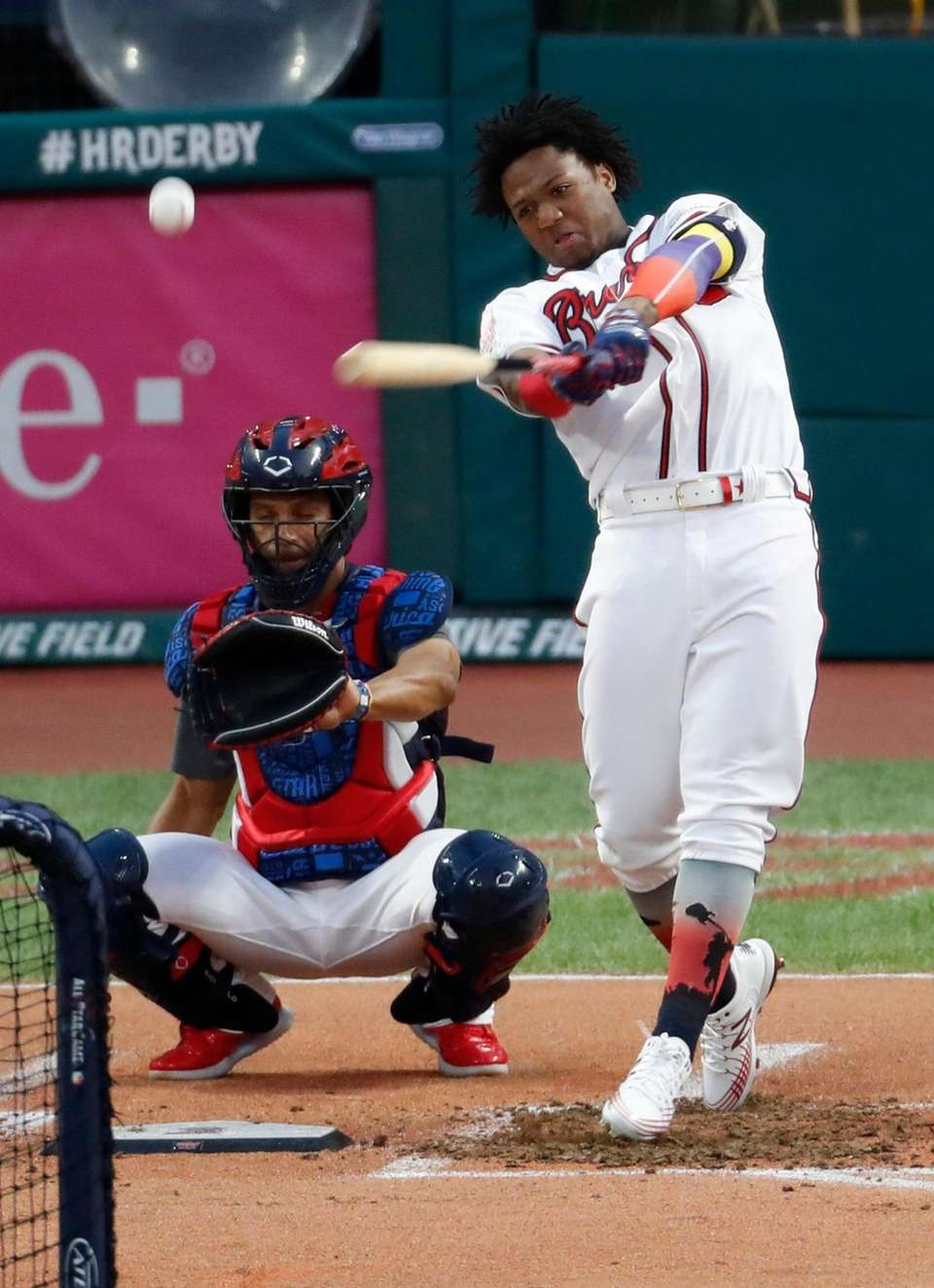 Ronald Acuna Jr., of the Atlanta Braves, hits