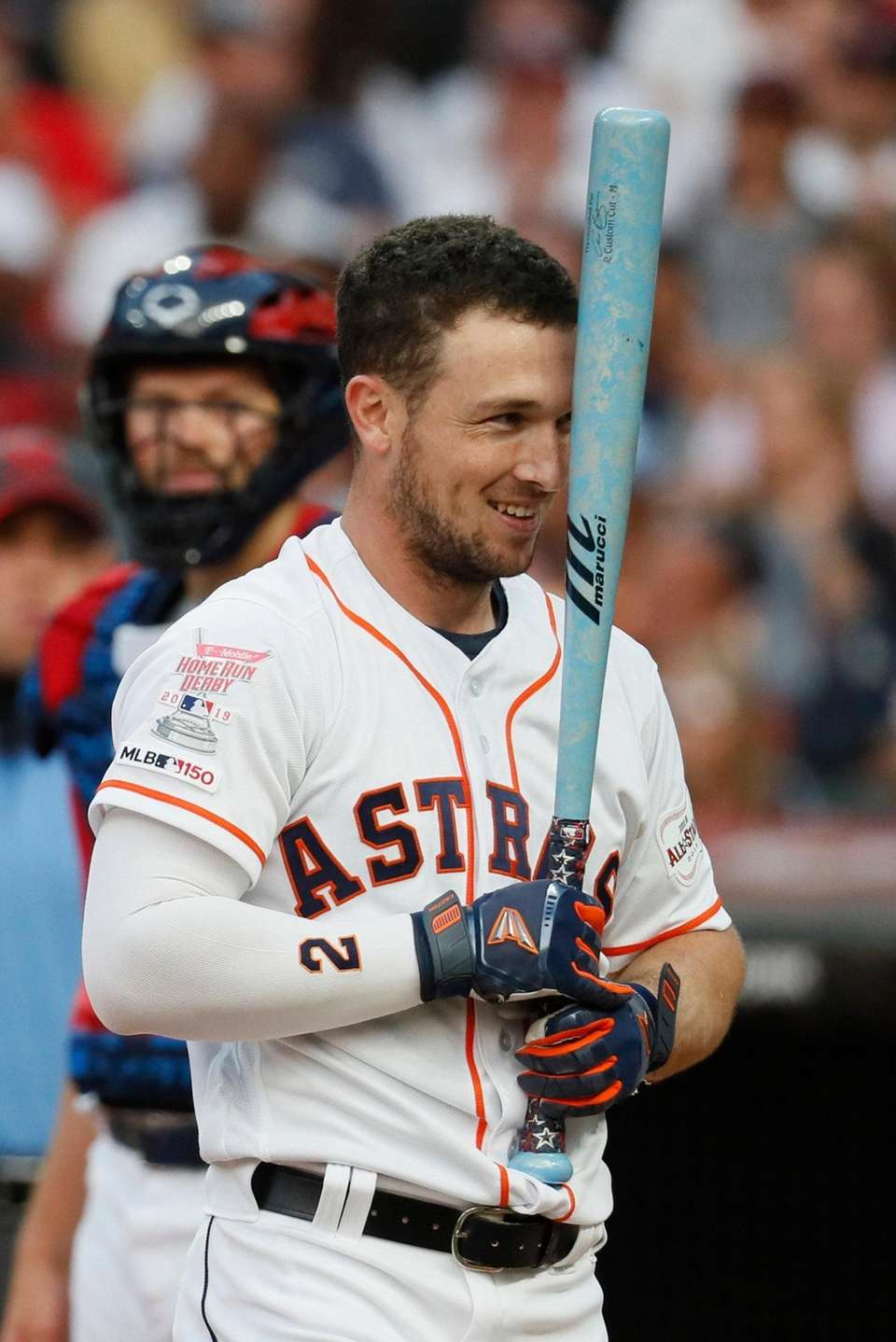 Alex Bregman, of the Houston Astros, reacts during