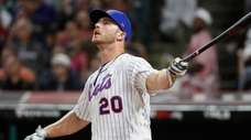 Pete Alonso, of the New York Mets, watches