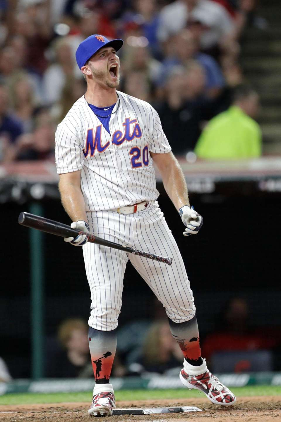 Pete Alonso, of the New York Mets, reacts