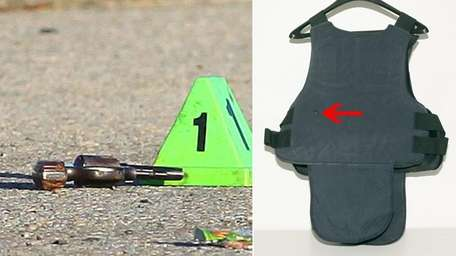At left, a cone marks the gun at