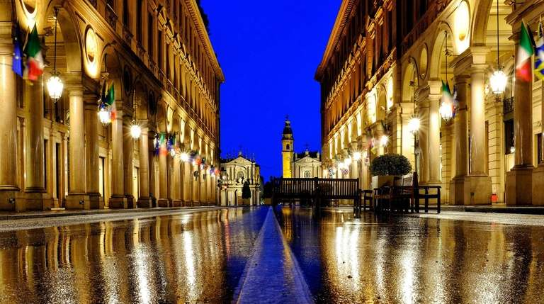 The famous Via Roma in Turin, Italy.