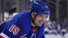 Rangers right wing Pavel Buchnevich looks on against