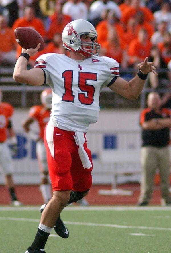 Stony Brook quarterback Kyle Essington looks to pass