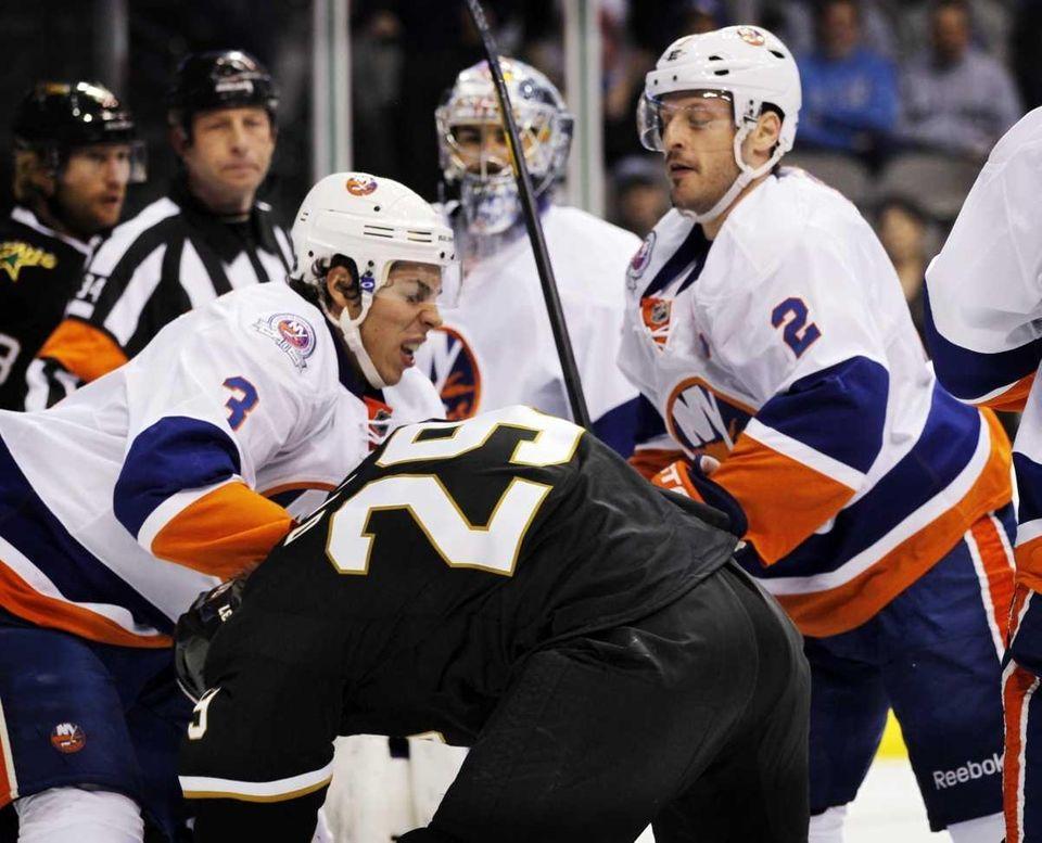 New York Islanders defenseman Travis Hamonic (3), of