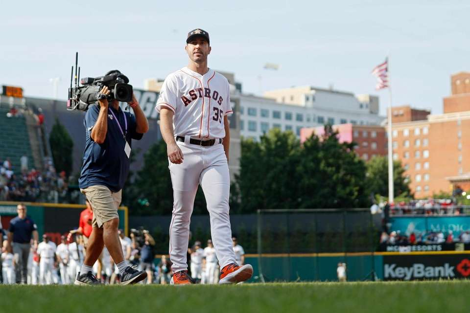 Justin Verlander, of the Houston Astros, walks to