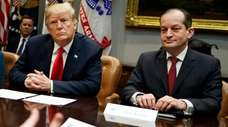 President Donald Trump and Labor Secretary Alex Acosta