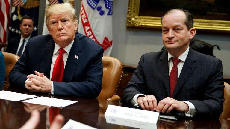 President Donald Trump and Labor Secretary Alex Acosta