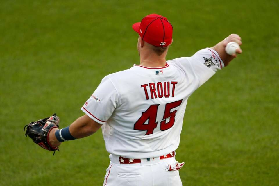 American League centerfielder Mike Trout, of the Los
