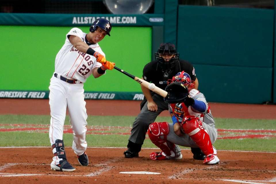 American League's Michael Brantley, of the Houston Astros,