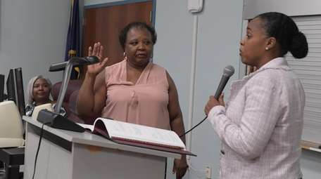 Shirley Baker is sworn in as the new