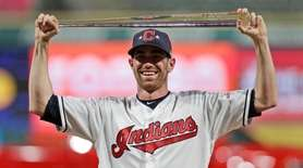 American League pitcher Shane Bieber, of the Cleveland