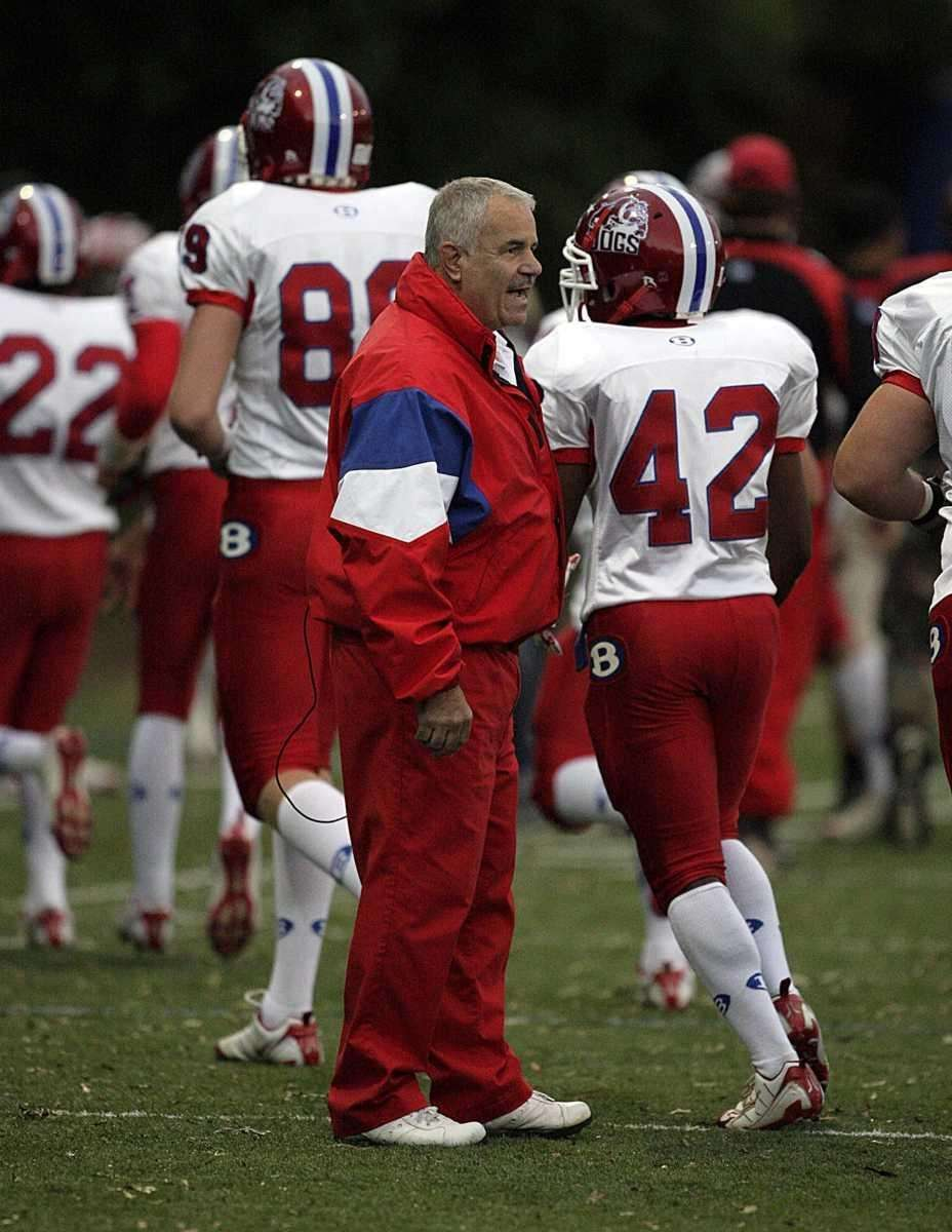 Bellport head coach Joe Cipp Jr. encourages his