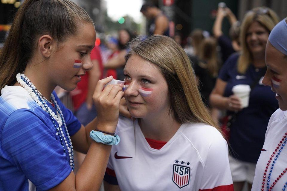 Boston resident Caitlyn Tucker has American flag makeup