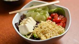 Tofu salad with vegan ramen noodles, silky tofu,
