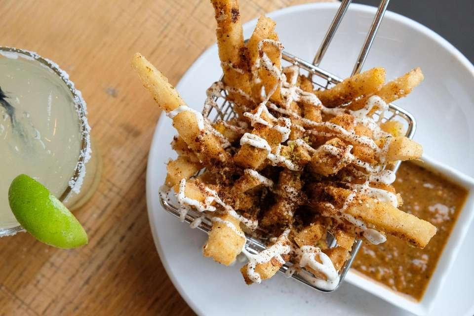 Street corn frittes are made with roasted corn,
