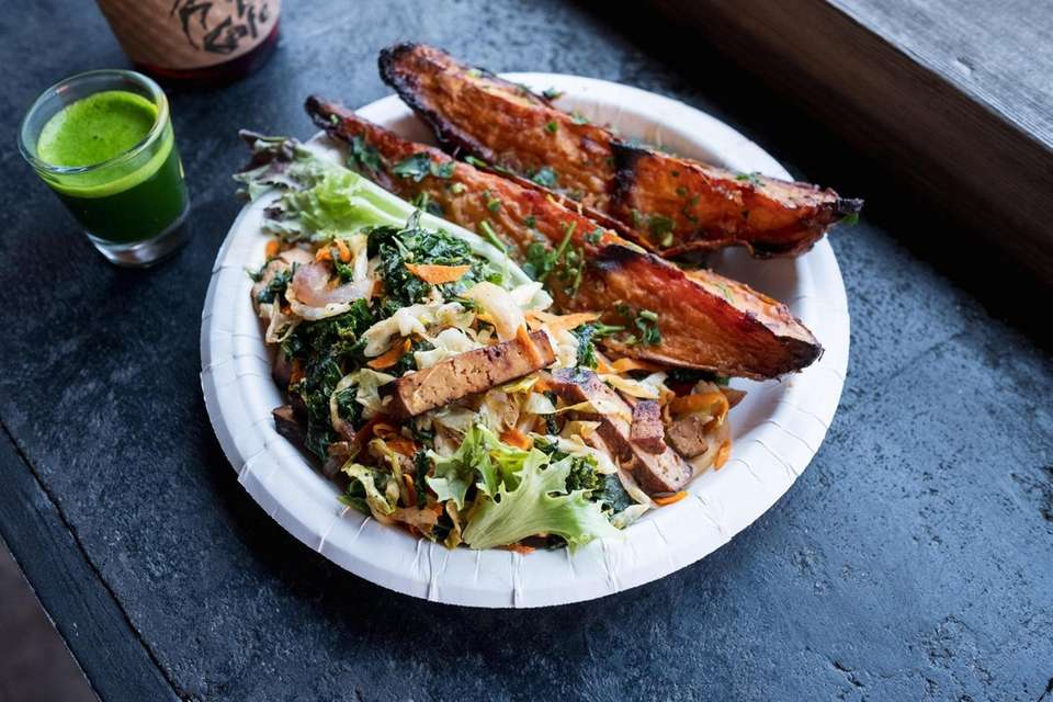 Shredded tofu with kale, cabbage and carrots with