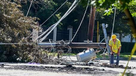 A utility worker at the scene Tuesday of
