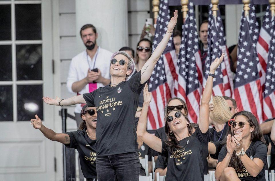 The U.S. women's soccer team, Megan Rapinoe celebrates