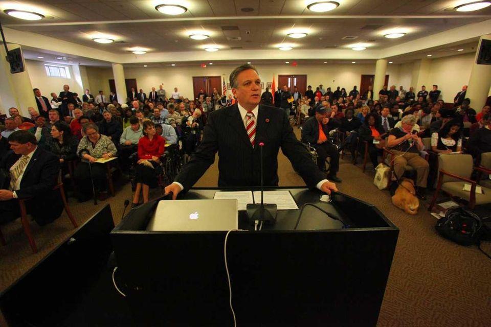 Nassau County Executive Edward Mangano testifies at the
