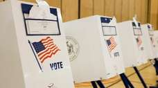 A view of voting booths during primary election