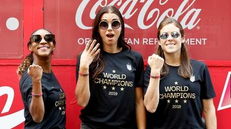 From left, U.S. women's national team players Crystal