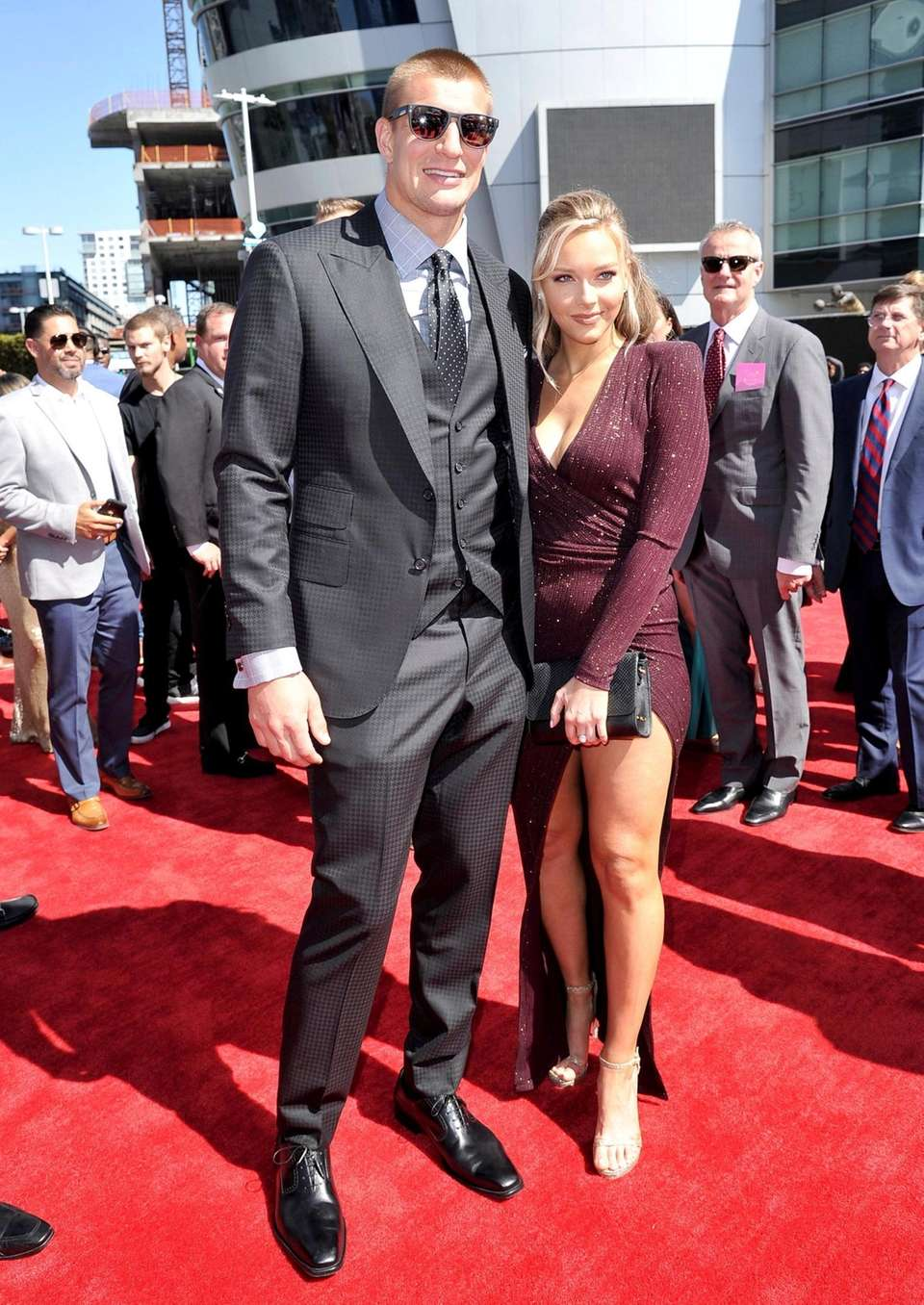 Rob Gronkowski, left, and Camille Kostek arrive at